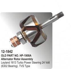 Alternator Rotor Assembly Leyland 1613 Turbo Power Steering 24 Volt (6302 Bearing) equivalent to TVS Type (HP-12-18