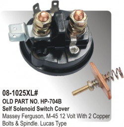Self Solenoid Switch Cover Massey Ferguson, M-45 12 Volt With 2 Copperzised Bolts & Spindle equivalent to Lucas Type (HP-08-1025