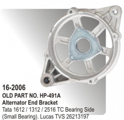 Alternator End Bracket Tata 1612 / 1312 / 2516 TC Bearing Side (Small Bearing) equivalent to 26213197 (HP-16-2006)