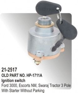 Ignition Switch Ford 3020 Dl, Farm Trac Tractor 5 Point With Heater / Starter / Parking Clip Type equivalent to (H