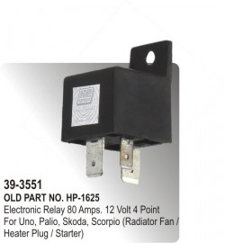Electronic Relay 80 Amps. 12 Volt 4 Point For Uno, Palio, Skoda, Scorpio (Radiator Fan / Heater Plug / Starter) (HP-39-3551)