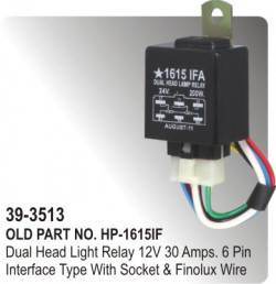 Head Light Relay Electronic 12 Volt 30 Amps. 6 Pin Interface Type With Socket & Finolux Wire  (HP-39-3513)