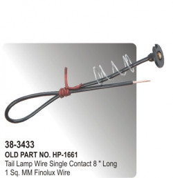 "Tail Lamp Wire Single Contact 8 "" Long Finolux Wire (HP-38-3433)"